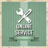 Online Service Concept on Green in Flat Design. Stock Photo