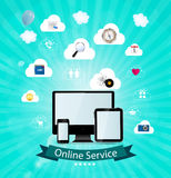 Online service concept vector illustration Royalty Free Stock Photos