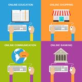 Online service concepts. Flat icons set of education shopping communication banking  vector illustration Royalty Free Stock Photography