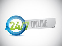 24 7 online service illustration design. Over a white background Royalty Free Stock Images
