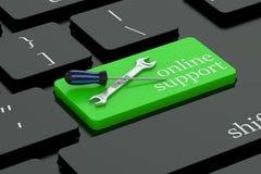 Online-servicebegrepp på tangentbordknappen Arkivbild