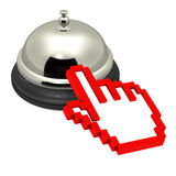 Online services. Mouse hand icon reaching out for service bell showing concept of online services and online enabled service industry, white background Stock Images