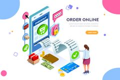 Online Services for Financial Transactions. Analysis, statistics, online services. Financial transaction, mobile bank on smartphone. Images can used for web Stock Image
