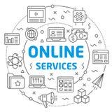 Online services Linear illustration slide for the presentation. White Bg Linear illustration slide for the presentation Stock Photo