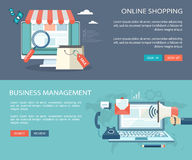 Online shooping and business management banners set. Royalty Free Stock Photography