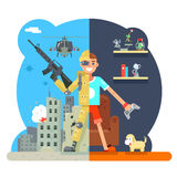 Online shooter gamer soldier immersion virtual reality living room battlefield flat design character vector illustration Stock Photo