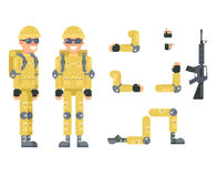 Online shooter gamer soldier immersion virtual reality living room battlefield flat design character vector illustration. Online shooter gamer soldier immersion Royalty Free Stock Photography