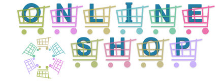 Online Shop Baskets. Online Shop text in blue with different colors shopping baskets vector illustration