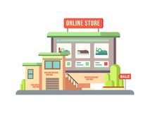 Online Shop Building Flat Design Stock Photo