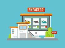 Online Shop Building Flat Design Royalty Free Stock Photography