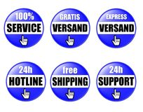 Online Shop Buttons. A set of blue illustrated buttons for an online shop, isolated on a white background Stock Images