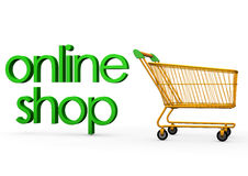 Online shop cart. An illustration of a shopping cart with online shop text Stock Image
