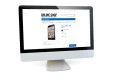 Online shop computer Royalty Free Stock Photography