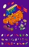 Online Shop Concept and Elements Part 3d Isometric View. Vector royalty free illustration