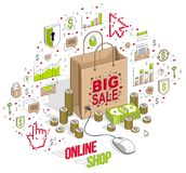 Online Shop concept, web store, internet sales, Shopping bag wit. H pc mouse connected isolated on white. 3d vector business isometric illustration with icons Stock Photography