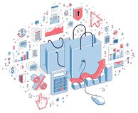 Online Shop concept, web store, internet sales, Shopping bag wit. H pc mouse connected isolated on white. 3d vector business isometric illustration with icons Royalty Free Stock Photos