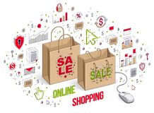 Online Shop concept, web store, internet sales, Shopping bag wit. H pc mouse connected isolated on white. Isometric 3d vector finance illustration with icons Royalty Free Stock Photography