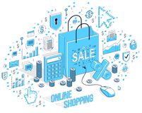Online Shop concept, web store, internet sales, Shopping bag wit. H pc mouse connected isolated on white. 3d vector business isometric illustration with icons Royalty Free Stock Photo