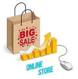 Online Shop concept, web store, internet sales, Shopping bag wit royalty free stock images
