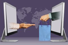 Online shop delivery concept, two hands from monitors. pleading gesture and hand with shopping bag. 3d illustration vector illustration