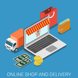 Online shop and delivery flat 3d isometric vector