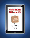 Online shop discount web banner with tablet pc. Stock Image