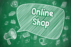 Online Shop - Doodle Illustration on Green Chalkboard. Royalty Free Stock Image