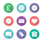 Online shop flat design icons set Royalty Free Stock Photos