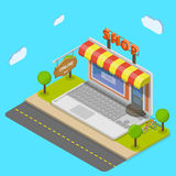 Online shop flat isometric vector concept. Royalty Free Stock Image