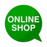 Online shop, Green Speech Bubble. Green Speech Bubble online shop, vector icon Royalty Free Stock Photo