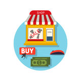 Online Shop Icon Flat. Sale and Buy Stock Photography