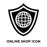 Online shop icon vector isolated on white background, logo conce stock illustration