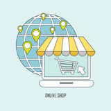 Online shop ideas in thin line style Royalty Free Stock Image