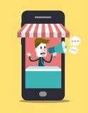 Online-Shop am intelligenten Telefon Geschäfts- und Digital-Marketing Lizenzfreie Stockfotografie