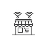 Online shop line icon, outline vector sign, linear pictogram isolated on white. Royalty Free Stock Photography