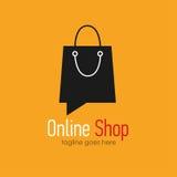 Online shop logo design template. Web banner Online Shop with shopping bag. Vector illustation Royalty Free Stock Image