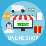 Online shop, make a purchase in the online shop. Order the goods online. Flat design,  illustration Stock Photos