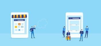 Online shop on mobile connect to group online customer Vector Illustration