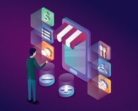 Online shop by mobile phone isometric illustration vector , phone category icon cancel buy. Retail isometric royalty free illustration