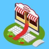 Online shop opening e-commerce flat isometric vector 3d