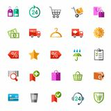 Online shop, payment, delivery, discounts, colorful icons. Royalty Free Stock Image