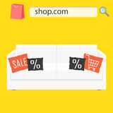 Online shop sale banner with white sofa and pillows. Furniture shop advert flyer Royalty Free Stock Images