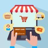 Online shop. sale Internet. flat style Stock Photo