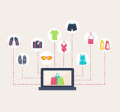 Online shop selling summer clothing Royalty Free Stock Image