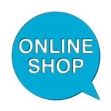 Online shop with shadow, Speech Bubble. Speech Bubble online shop with shadow,  icon Stock Images