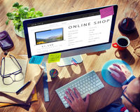 Online Shop Shopping Internet Website Concept Royalty Free Stock Images