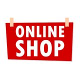 Online Shop Sign - illustration. Online Shop Sign - simple vector illustration Stock Photo