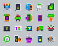 Online Shop patch sticker icons vector set royalty free illustration