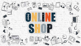 Online Shop on White Brick Wall. Royalty Free Stock Photo