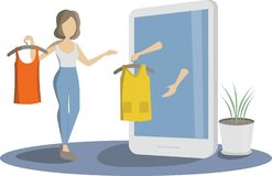 Online Shoping Concept. Girl trying on dresses. royalty free illustration